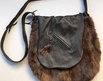 Brown hand made fur bag