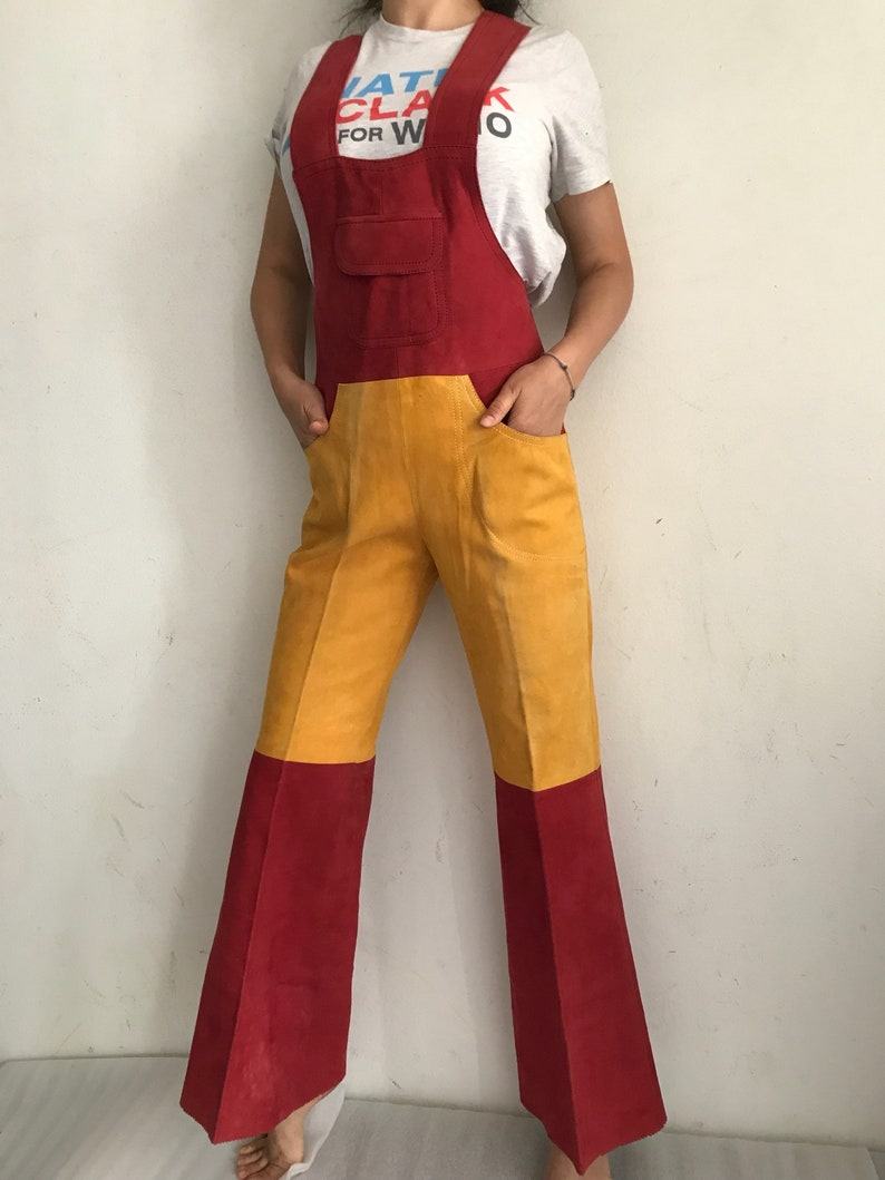 Women/'s vintage coverall original suede coverall of bright color for an unordinary girl production of Turkey,