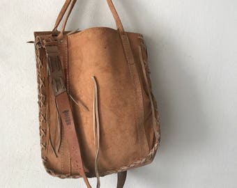 Vintage hand made heavy large bag .