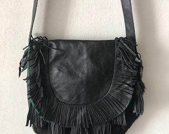 Black hand made fur bag