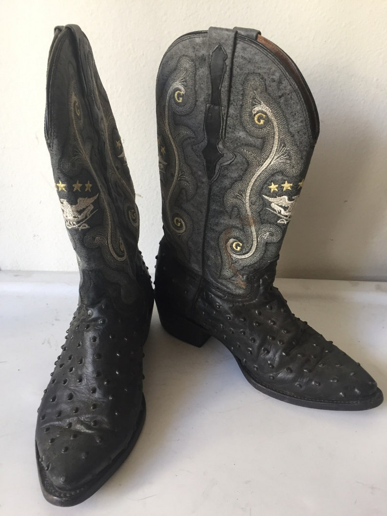 eea2f22090b Gray men's boots from real leather, with embroidery, vintage style, western  boots, cowboy boots, old boots, retro boots, men's size - 9.
