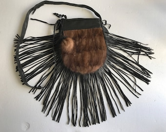 Hand made mink fur bag , small size .
