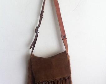 Fringe fur bag , real mink shoulder bag , womens size medium.