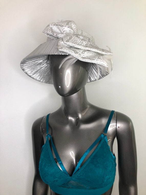 Silver silk cotton summer fashion party hat woman.