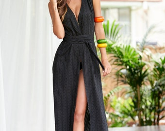 Beach cover up sleeveless black