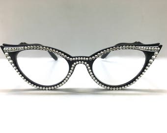 a039711998 Black Vintage Cat Eye Swarovski Crystal Reading Glasses