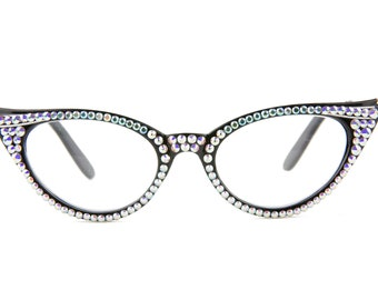 94a0ba3fbbe Vintage Cat-Eye Reading Glasses made with Swarovski Crystals