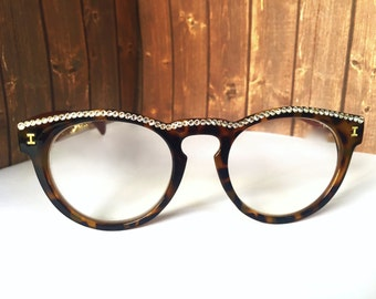f1ab71c0a97 Round Tortoise Reading Glasses Made with Swarovski Crystals