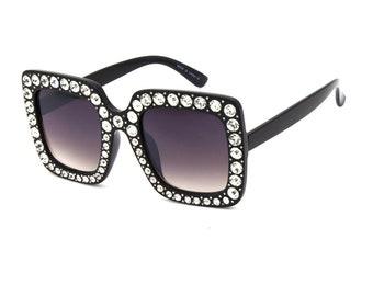 b80cb9228e Glitter Oversized Square Sunglasses