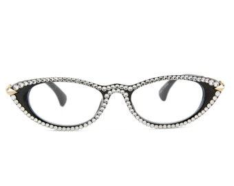 8fd5b2f49e Cat Eye Swarovski Crystal Vintage Reading Glasses +1.50 +1.75 +2.50 +2.75