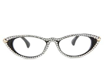68e9e4776041f Black Cat-Eye Reading Glasses made with Swarovski Crystals