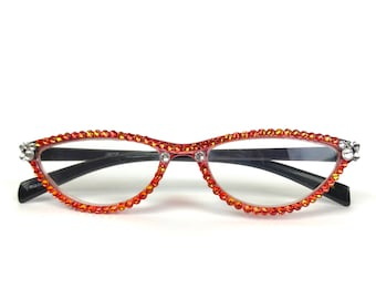 3b10a45cfd6 Cat-Eye Reading Glasses made with Swarovski Crystals
