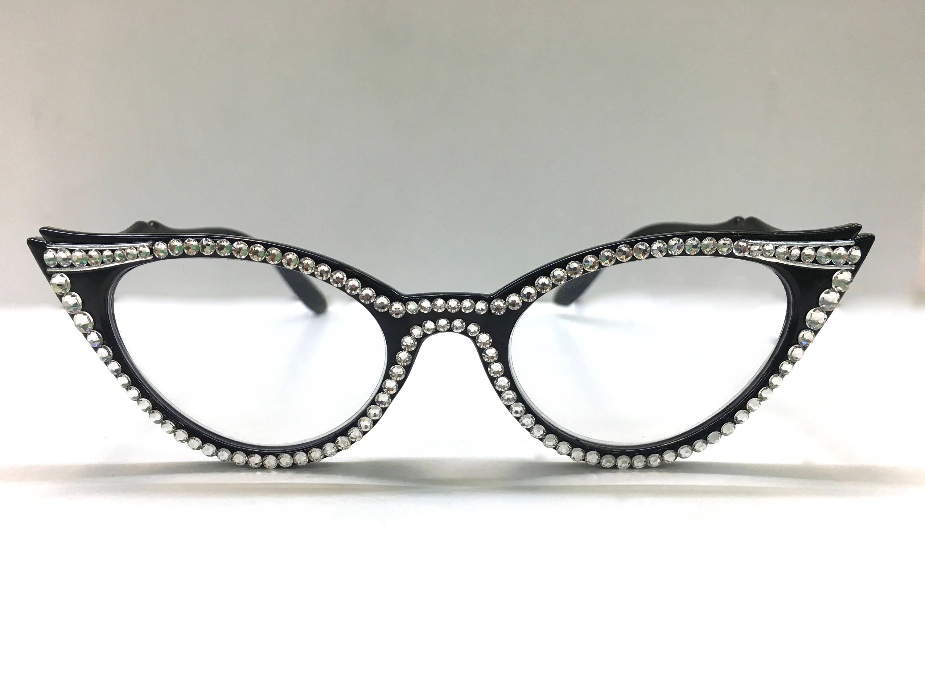 4b9fb5716ed Black Vintage Cat Eye Swarovski Crystal Reading Glasses. gallery photo ...
