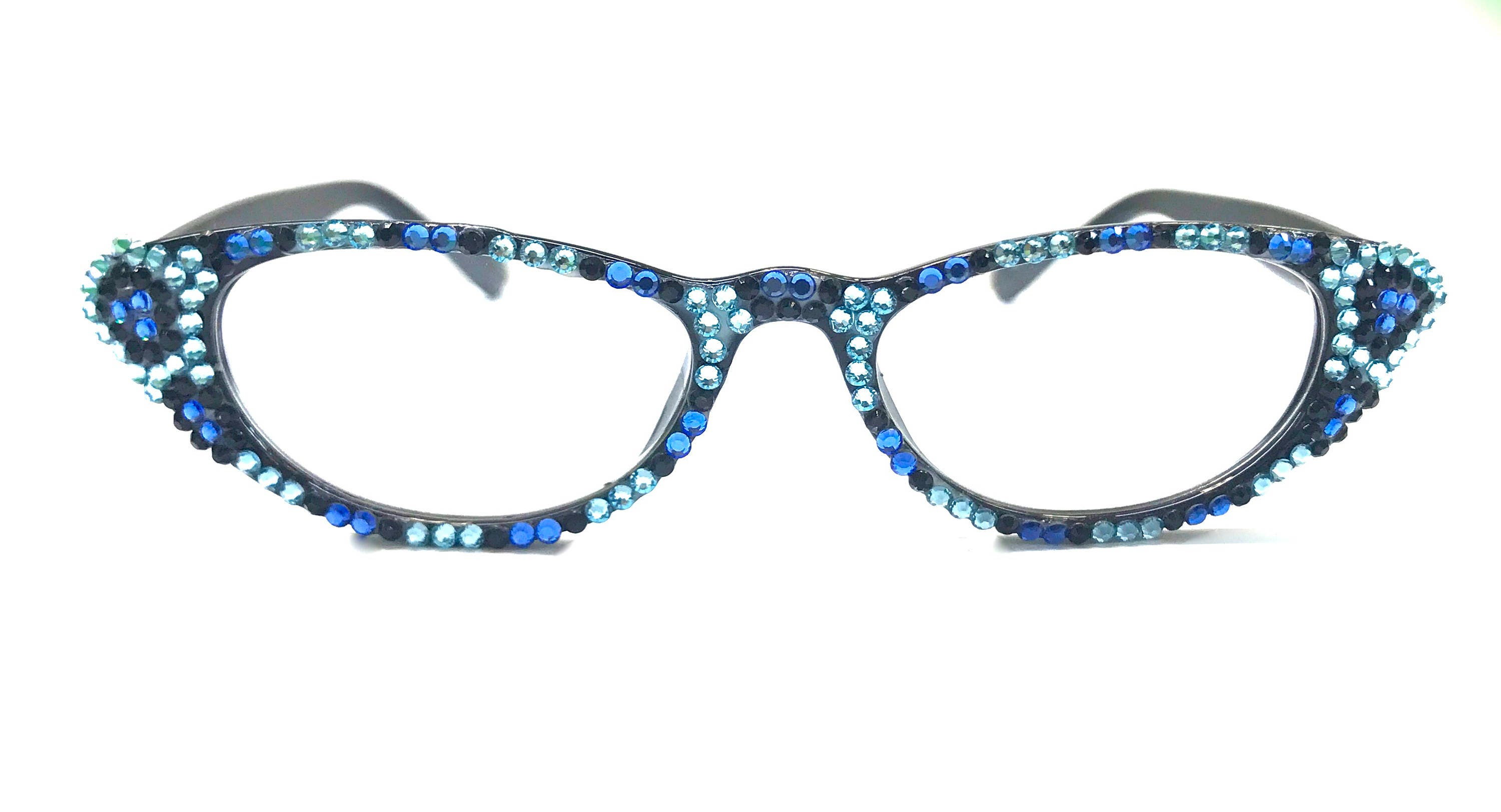 f40cf9e12c5 Cat-Eye Reading glasses made with Swarovski Crystals Blue tortoise. gallery  photo ...