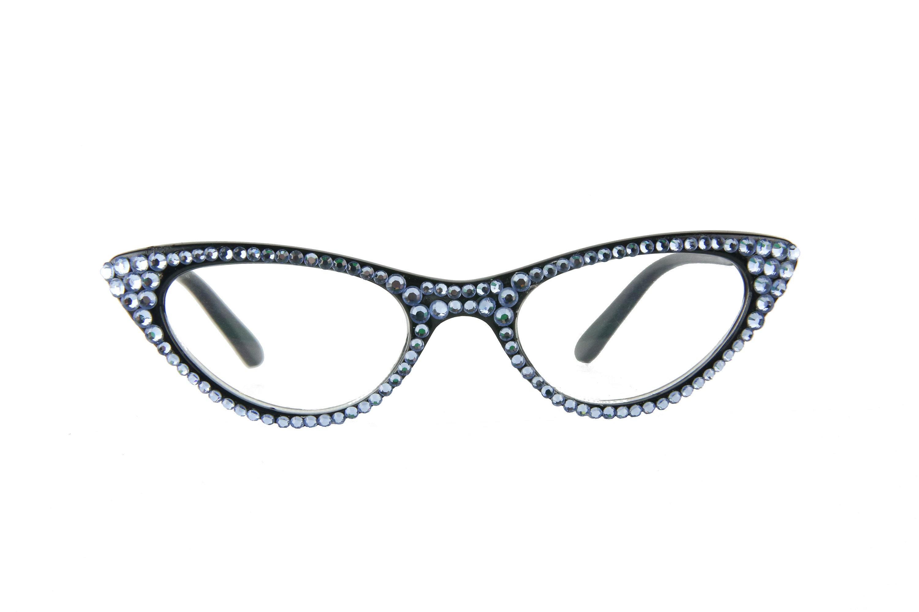 113b8531df4e Blue Fashion Vintage Cat Eye Reading Glasses Made with Swarovski Crystals.  gallery photo gallery photo