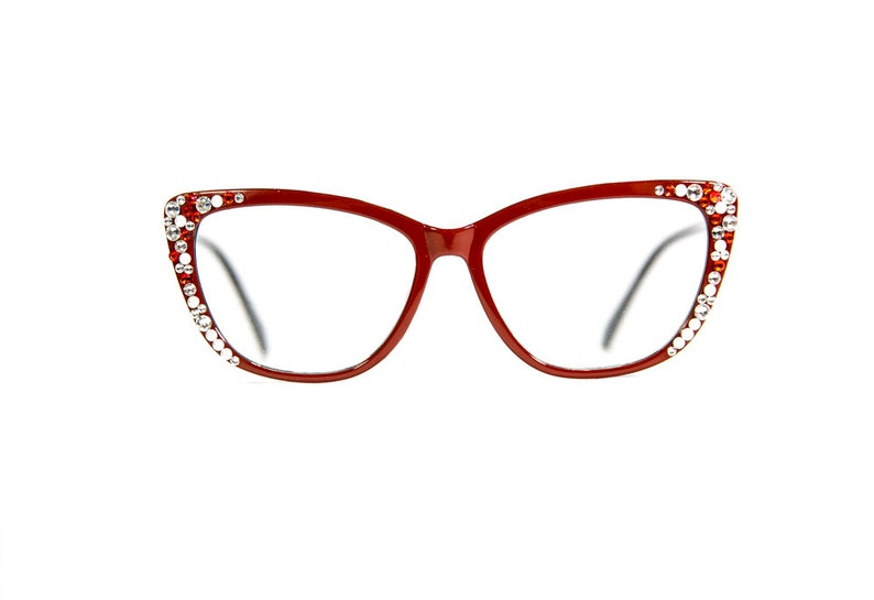 59467880b2b9 Red Cat-Eye Reading Glasses made with Swarovski Crystals