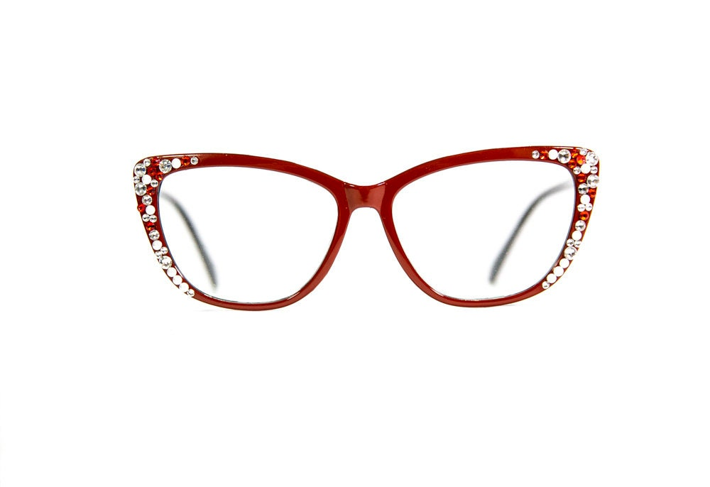 eaa06f1f03 Red Cat-Eye Reading Glasses made with Swarovski Crystals. gallery photo  gallery photo