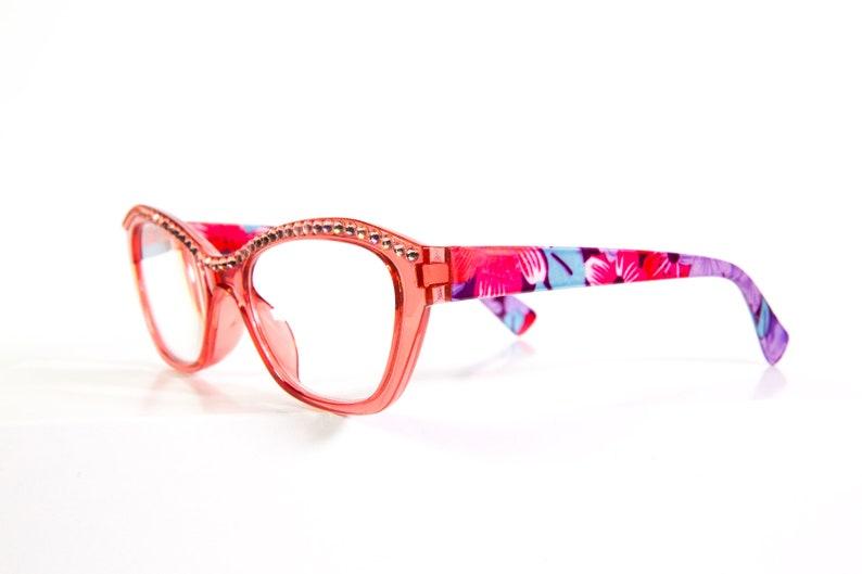 ff8b2f37069c Peach Funky Reading Glasses with Swarovski Crystals