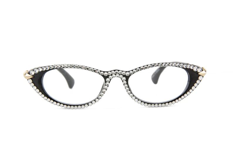 edff3c4f8171 Black Cat-Eye Reading Glasses made with Swarovski Crystals