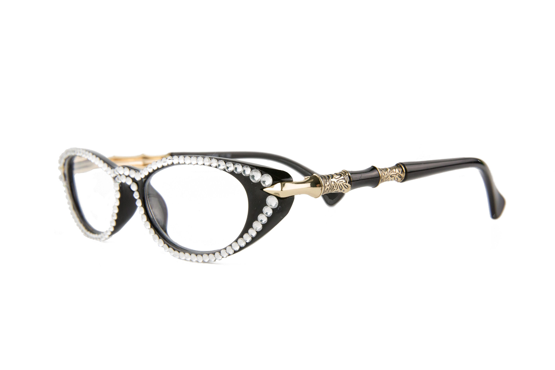 4264bc017c34 Black Cat-Eye Reading Glasses made with Swarovski Crystals