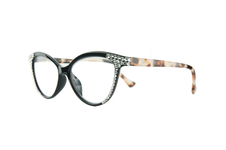 33fe2b67386d Cat-Eye Swarovski Crystal Reading Glasses 1.25 1.50 1.75