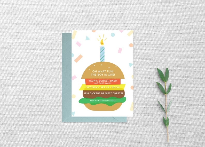 First Birthday Burger Party Invitation Confetti One Year Old