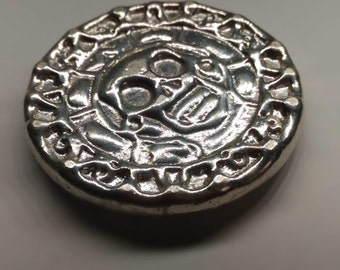 solid silver Doubloon Pirate Treasure .999 Fine Silver Polished and Hand Poured