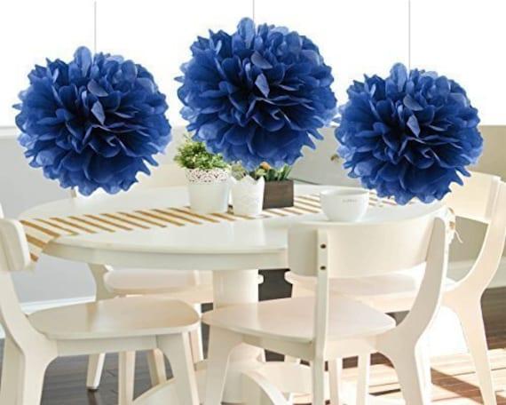 Incredible Navy Tissue Paper Pom Poms Wedding Decorations Hand Made Cut Wedding Pom Poms Diy Home Interior And Landscaping Dextoversignezvosmurscom