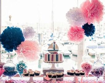 Navy Tissue Paper Pom Poms Wedding Decorations Party Birthday
