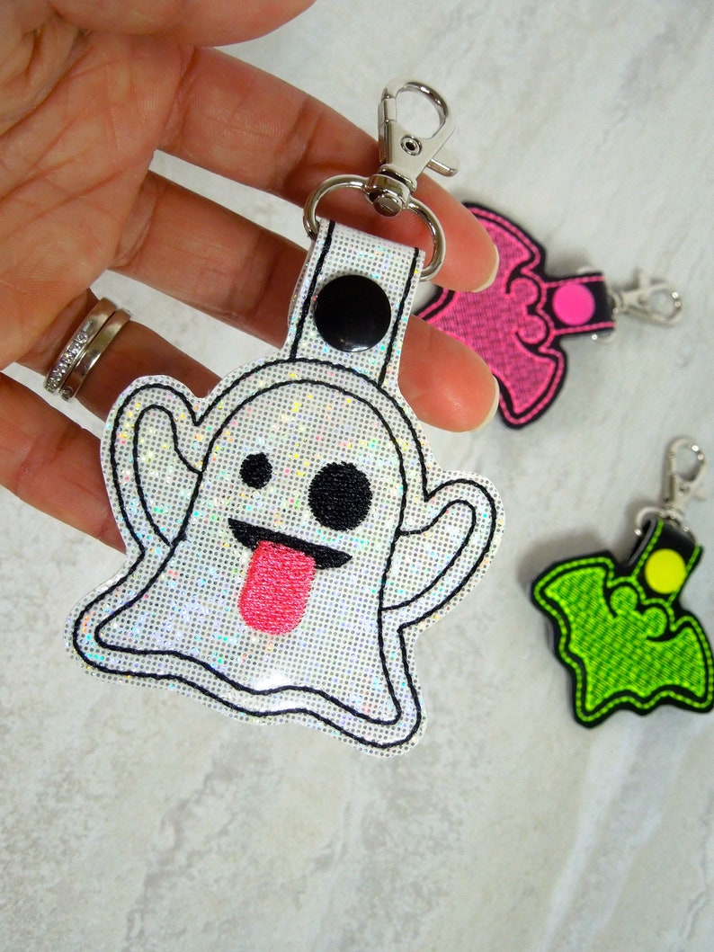 Ghost Emoji Backpack Charm Halloween Keychain Bag Charm Etsy