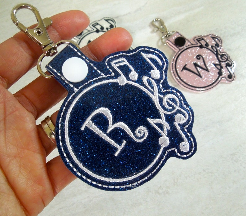 Musical Note Personalized Bag Charm Custom Keychain  e09802e5af