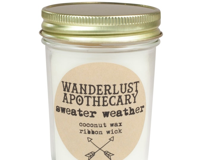 Sweater Weather Hand Poured 100% Coconut Wax Jar Candle, 8oz (Limited Edition Seasonal Scent)