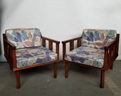 Mid Century Modern Adrian Pearsall Style Walnut Club Chairs Arm Chairs Sculptural Lounge Chairs PAIR