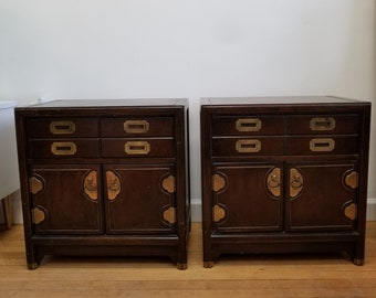 01bb56e31d80 SALE! Mid Century Hollywood Regency Hickory Manufacturing Asian Campaign  Nightstands Night Chests End Tables