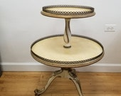 Vintage French Regency Glam Two Tiered Dumbwaiter Table