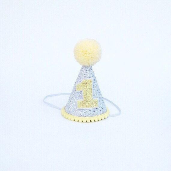 31eff5a0dd0 Lemon Birthday Hat Yellow and white 1st Birthday Baby