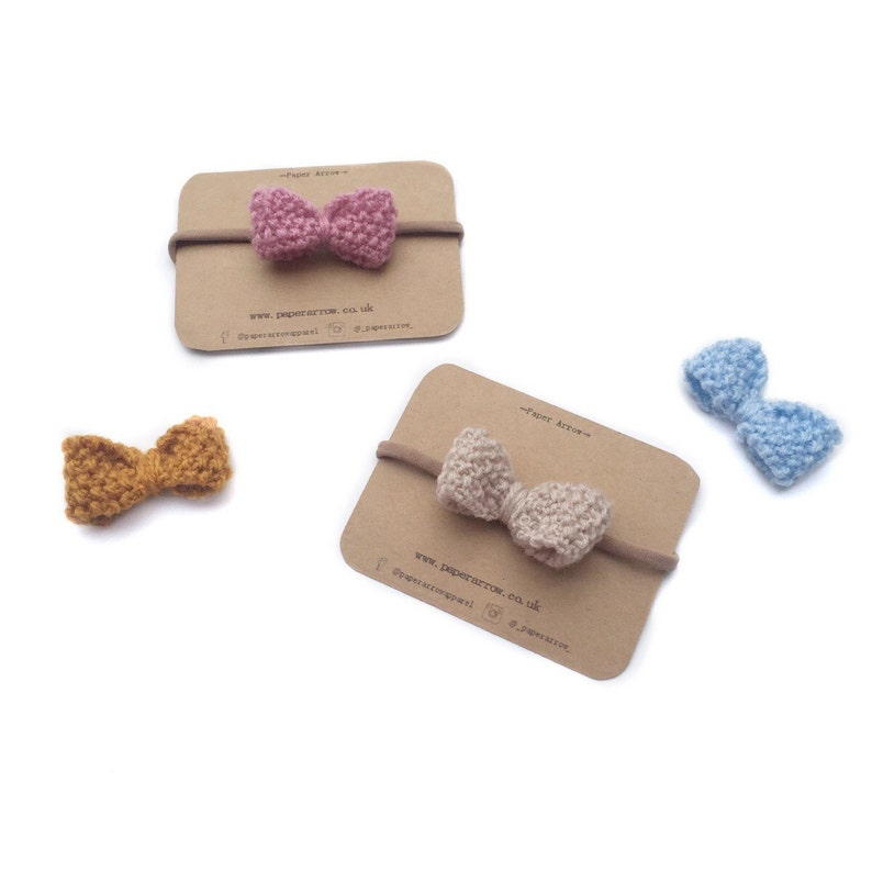knitted hair bows toddler hair bow childrens party Bow headband Handmade knitted bow headbands kids head piece onesize baby nylon bands