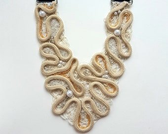 Handmade Free Style Modern and Elegant Bib Necklace, Embroidered by String and Beads