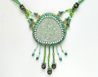 Handmade Necklace with Fictile-art Stone, Glass and Ceramics Beads