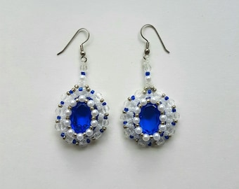 Unique Handmade Beaded Earrings. Glass Crystals, Beads, Pearls