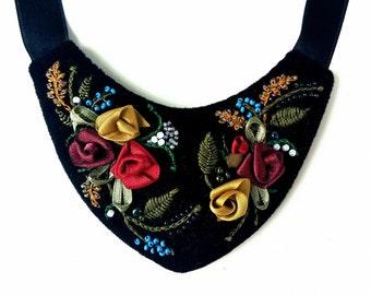 Handmade, Ribbon Embroidered Bib Necklace