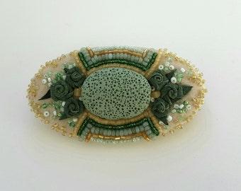 Handmade Brooch. Allusion to Rococo . Green Lava Stone, Leather, Textile, Bead Embro