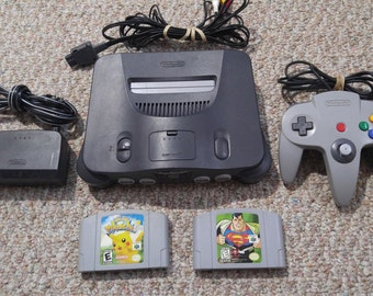 Nintendo 64 Charcoal Console with Games Bundle N64 *Cleaned & Tested*