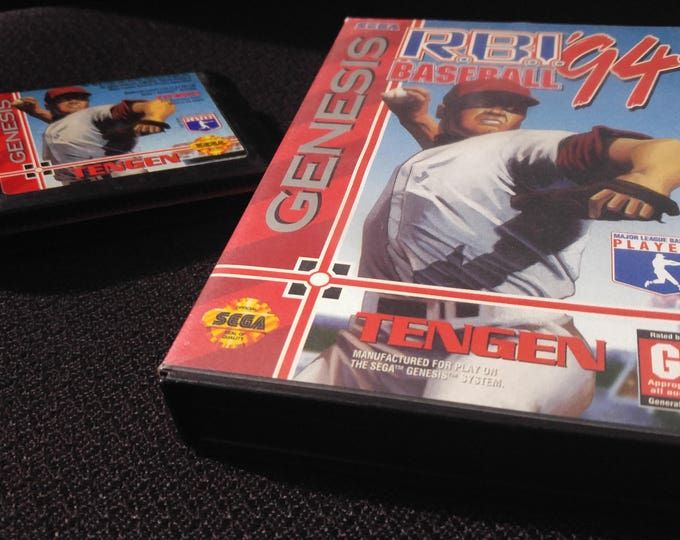 RBI 94 Baseball Sega Genesis video game with box *Cleaned & Tested*