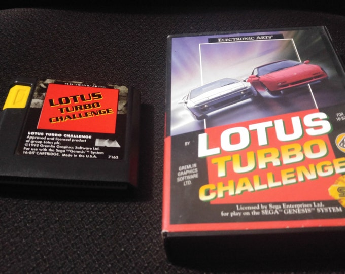 Lotus Turbo Challenge Sega Genesis video game with box *Cleaned & Tested*