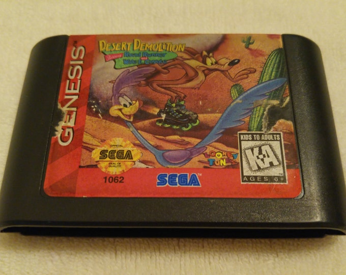 Desert Demolition: Starring Road Runner and Wile E. Cotote Sega Genisis video game *Cleaned & Tested*