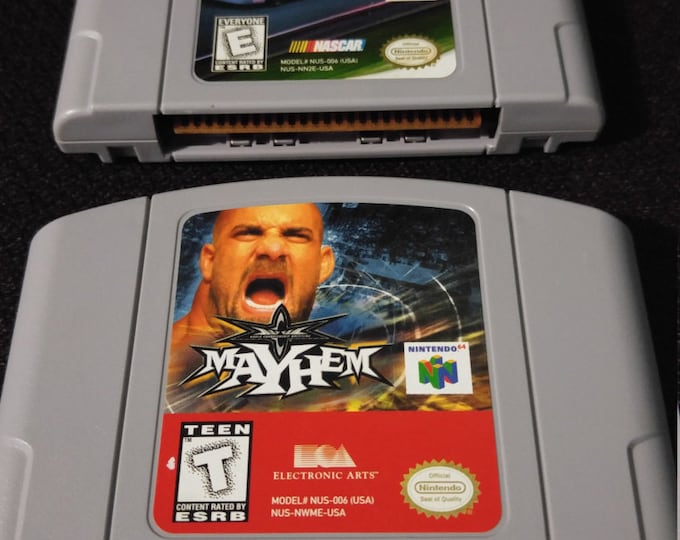 WCW Mayhem and Nascar 2000 Nintendo 64 Game *Cleaned & Tested* N64