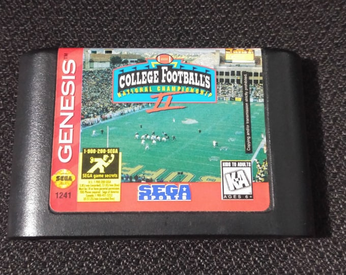 College Footballs National Championship 2 Sega Genesis video game *Cleaned & Tested*
