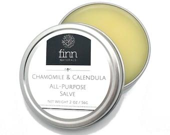 All Natural Chamomile & Calendula Moisturizing Cream Salve for Dry, Itchy Skin, Diaper Rash, Eczema, Psoriasis ~ Unscented 2 oz or 4 oz ~