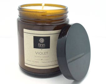 Hand Poured Premium VIOLET Scented Soy Candle 9 oz